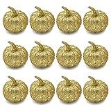 12pcs Small Glitter Gold Pumpkins Fall Mini