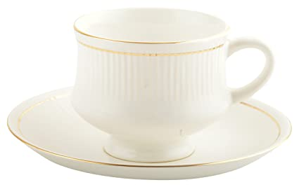 00c884898b Buy woodenclave Ceramic Tea Cup & Saucer Set, 12 Pieces, Off-White ...