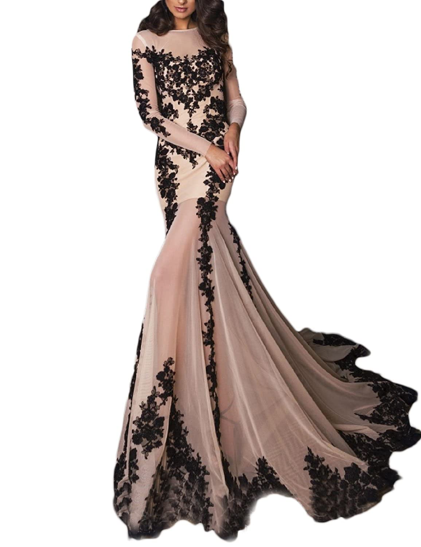 OYISHA Womens Long Sleeve Mermaid Wedding Evening Gown Appliqued ...