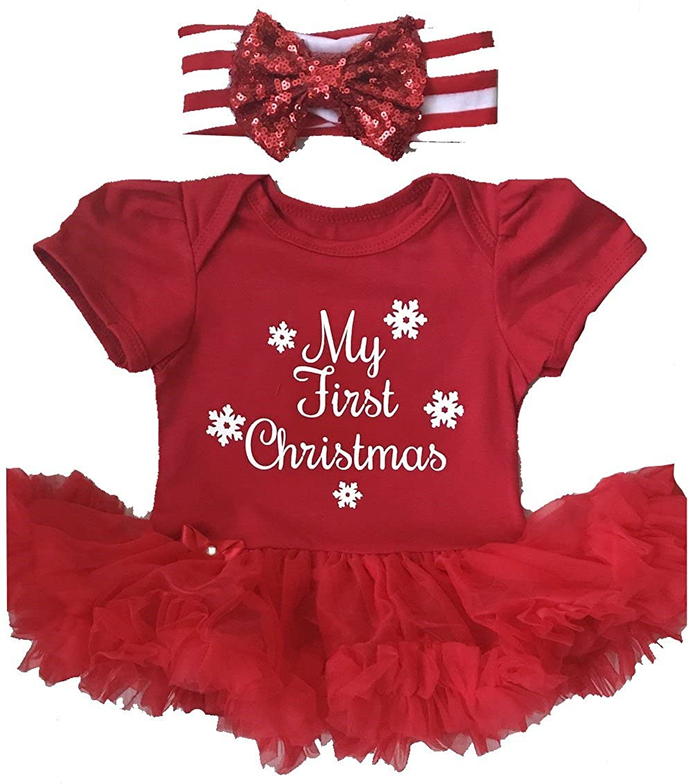 Little Secrets My First Christmas Baby Girl's Red Tutu Romper with Sequin Headband