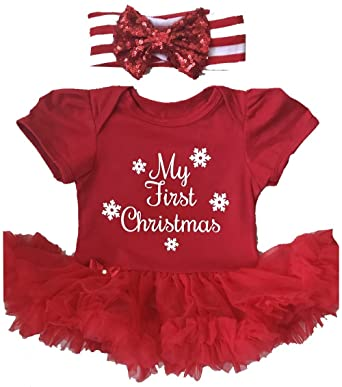ec220f55f707 My First Christmas Baby Girl s Red Tutu Romper with Sequin Headband (0-3  Months