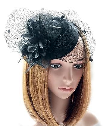 3f5d937a166 Fascinator Hats Pillbox Hat British Bowler Hat Flower Veil Wedding Hat Tea  Party Hat (Black)  Amazon.in  Clothing   Accessories