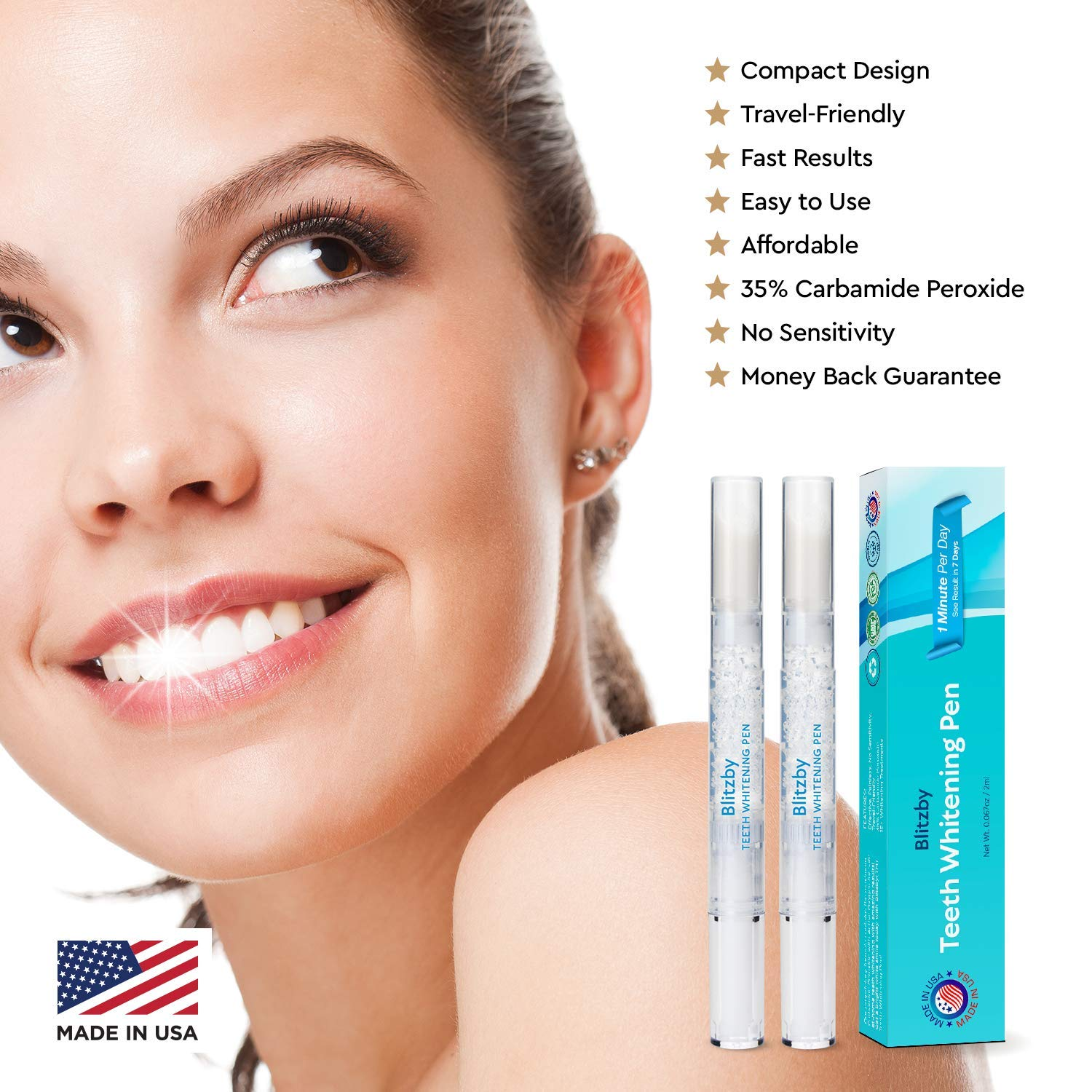 Blitzby Teeth Whitening Pen 2pcs Upgraded Formula 30 Plus Uses Effective Painless No Sensitivity