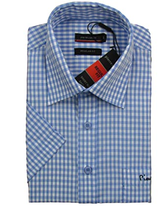 Pierre Cardin  quot Regular Fit A Herren Kurzarm Hemd Karo Muster(Blau Weiß 1c95d76afb