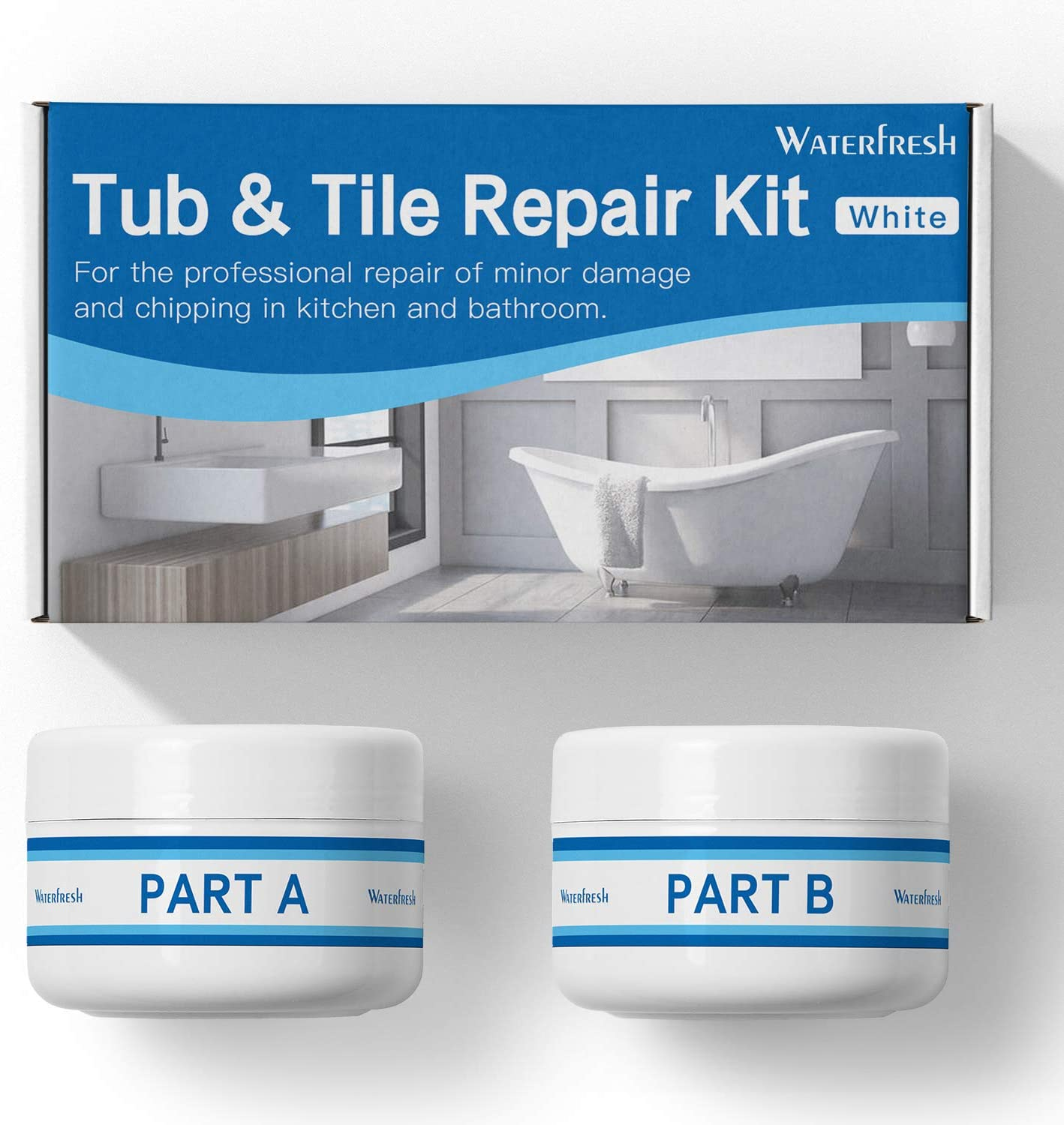 Tub, Tile and Shower Repair Kit - White  Fiberglass and Porcelain Repair   Shower & Countertop - Bathtub Refinishing Kit