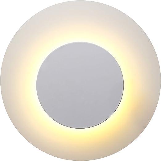 Topmo-plus 12W LED lámpara de pared Aplique Pared Interior 3 colores dimmable decoración para Pasillo Escalera Luz de techo de aluminio redondo Sala de oficina Lámpara de vestíbulo 25 CM blanco: Amazon.es: