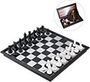 iBaseToy 3 in 1 Magnetic Travel Chess Set for Kids and Adults, Chess Checkers Backgammon Set with Folding Chess Board and St