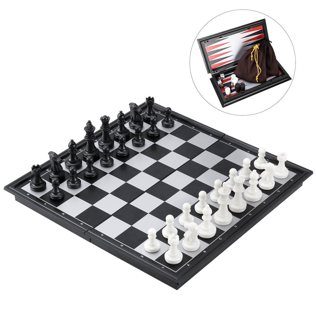 iBaseToy 3 in 1 Magnetic Travel Chess Set for Kids and Adults, Chess Checkers Backgammon Set with Folding Chess Board and Storage Bag, Portable Traditional Chess Game Educational Toys, 9.8'' x 9.8'' by iBaseToy