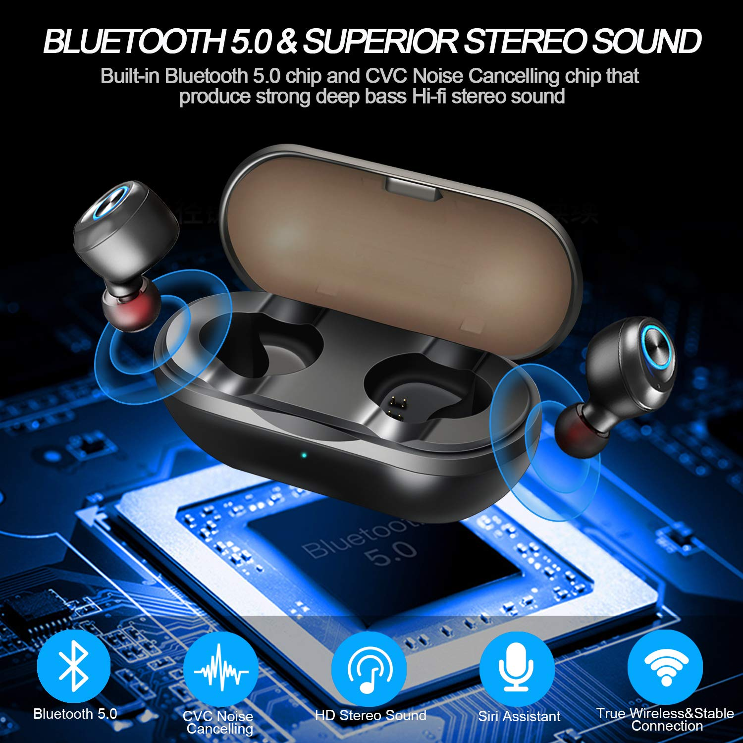 True Wireless Bluetooth Earbuds,True Wireless Earbuds Bluetooth 5.0 Headphones,TWS in-Ear Earphones Deep Bass Built-in Mic Headset IPX5 Sweatproof Noise Cancelling One-Step Pairing Mini Charging Case