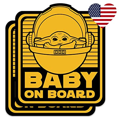 Saturdays Co. 2-Pack Cute Baby Yoda on Board 4x5 Vinyl Decal Stickers - for Car, Truck, Vehicle, Window, Bumper, Laptop, MacBook, Hydroflask, Yeti: Clothing