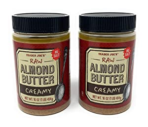2 Packs Trader Joe's Almond Butter Raw Creamy Unsalted 16 Oz