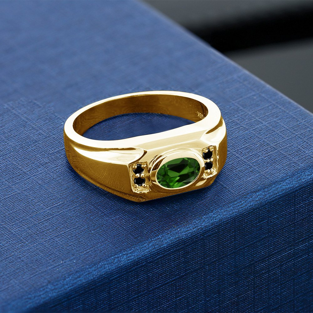 Gem Stone King 1.33 Ct Chrome Diopside Black Diamond 18K Yellow Gold Plated Silver Mens Ring