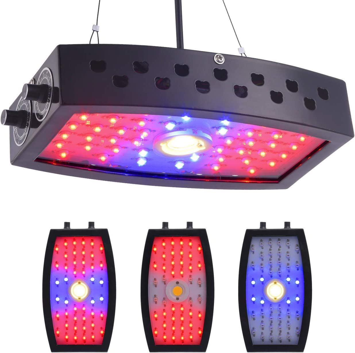 GUANHONG COB LED Grow Light 1000W Ajustable Knobs Full Spectrum Panel Growing Lamp Suitable for Greenhouse Seedling Veg and Flower Dual-Chips