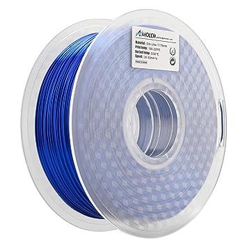 AMOLEN Impresora 3D Filamento PLA 1.75mm, Seda Azul Zafiro 1KG,+/- 0.03mm Materiales de impresión 3D de Filamento, incluye Filamento de Gris Plateado ...
