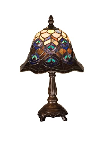 Tiffany Peacock Feather Mini Table Lamp