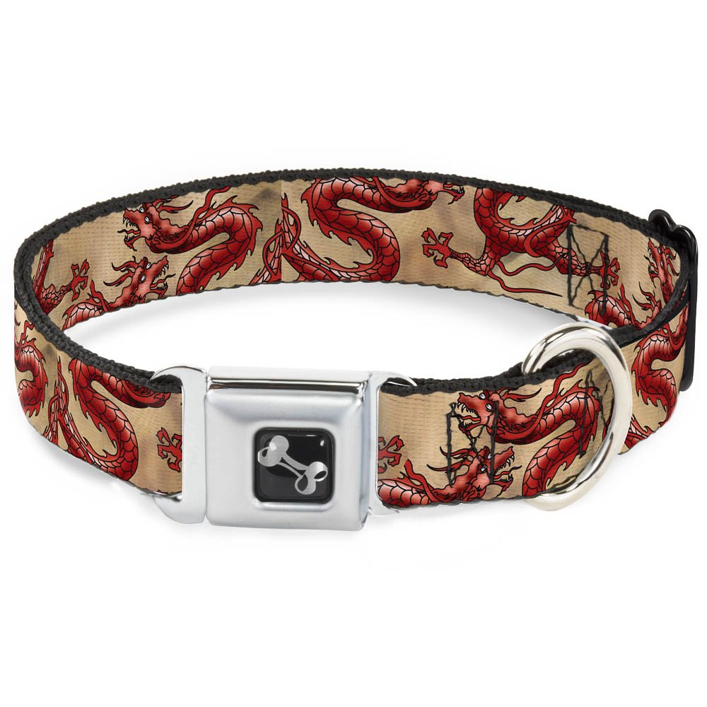Buckle-Down Seatbelt Buckle Dog Collar Dragons Tan 1  Wide Fits 9-15  Neck Small