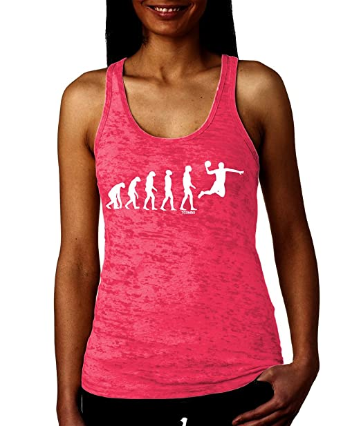 Tcombo The Evolution of basketball Womens Racerback Tank Top (Small, Pink)