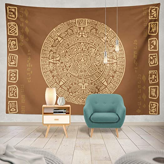 threetothree Tapestry Aztec Symbol Calendar Ancient Tattoo Mandala Tribal Dragon Mexico America Hanging Tapestries 60 X 80 Inch Wall Hanging Decor for Bedroom Livingroom Dorm
