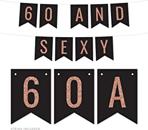 Andaz Press Faux Rose Gold Glitter on Black Birthday Party Banner Decorations, 60 and Sexy, Approx 5-Feet, 1-Set, 60th Birthday Milestone Colored Hanging Pennant Decor, Not Real Glitter