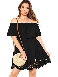 f3a90744f9158 Romwe Women's Plus Size Off The Shoulder Hollowed Out Scallop Hem Party  Short Dresses