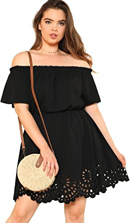 ROMWE Women\'s Plus Size Off The Shoulder Hollowed Out Scallop Hem Party  Short Dresses