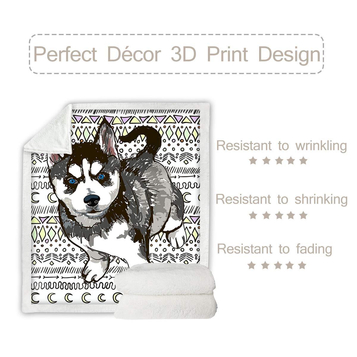 Sleepwish Sherpa Fleece Throw Blanket Siberian Husky Print Couch Sofa Plush Fuzzy Blanket 3D Cute Animals Pattern Blankets for Dog Lovers,Green,Throw 50 X 60