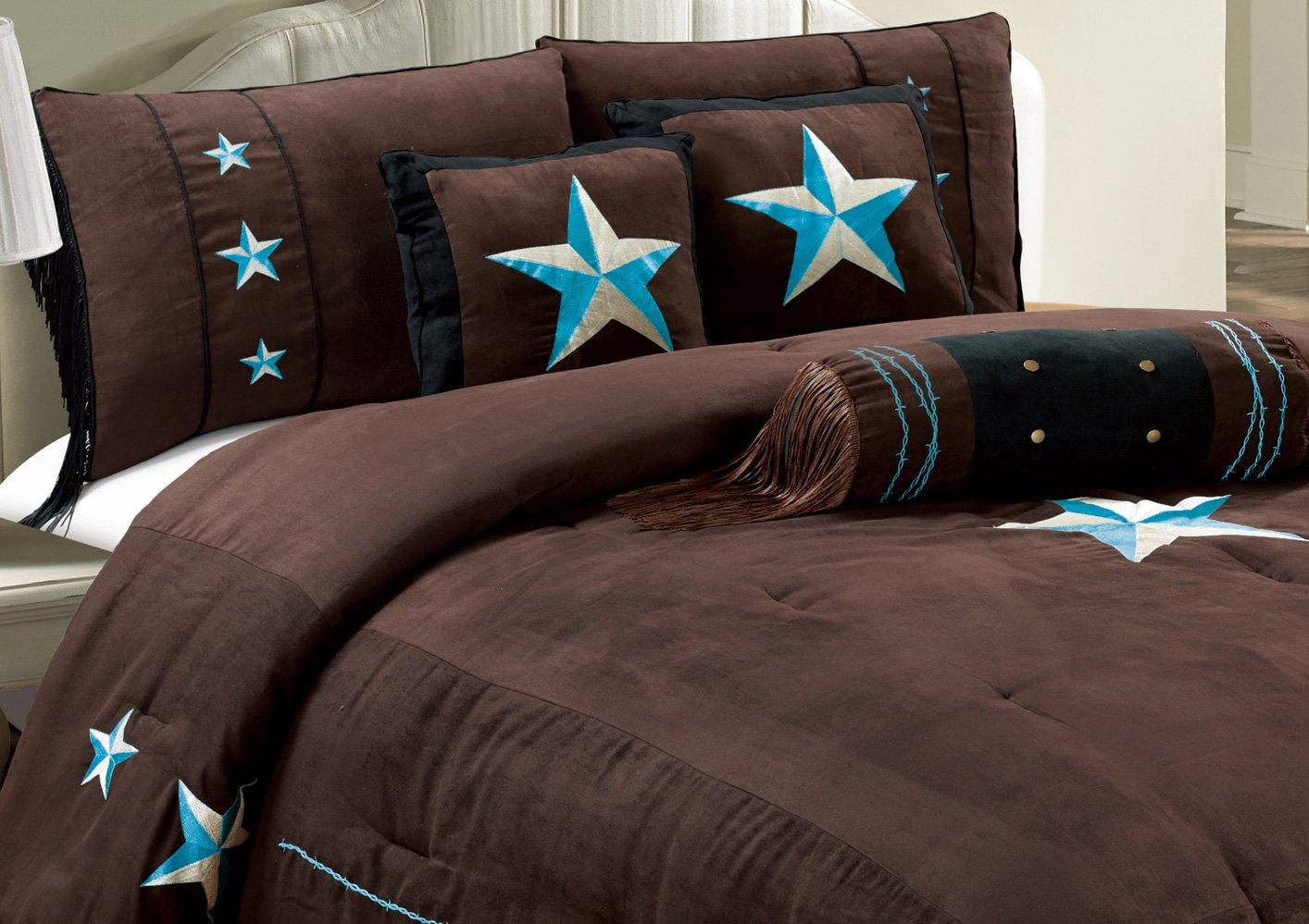 Comforter Set Dark Brown / Turquoise Blue