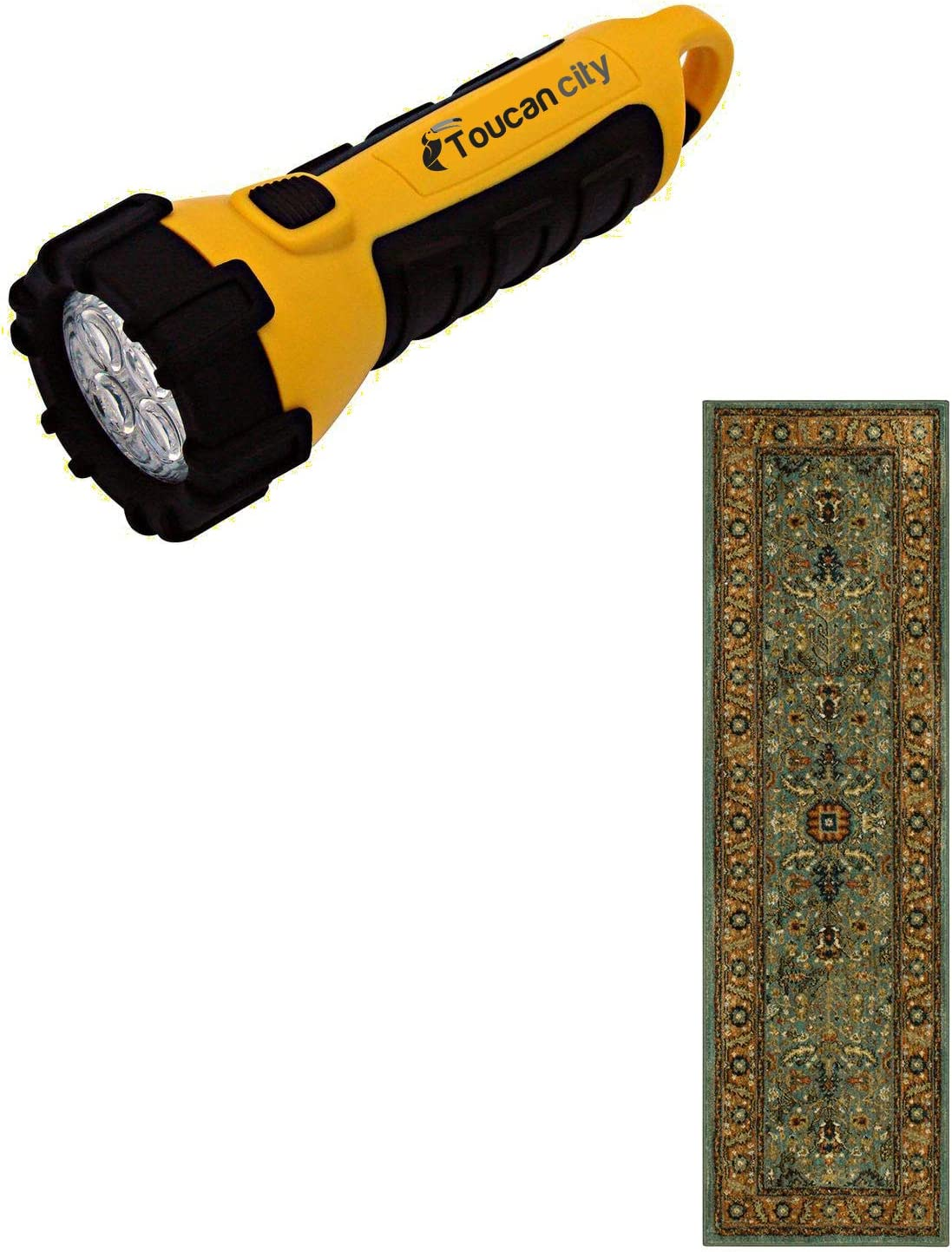 Toucan City LED Flashlight and Home Decorators Collection Mariah Aquamarine 2 ft. x 7 ft. Runner Rug 635596