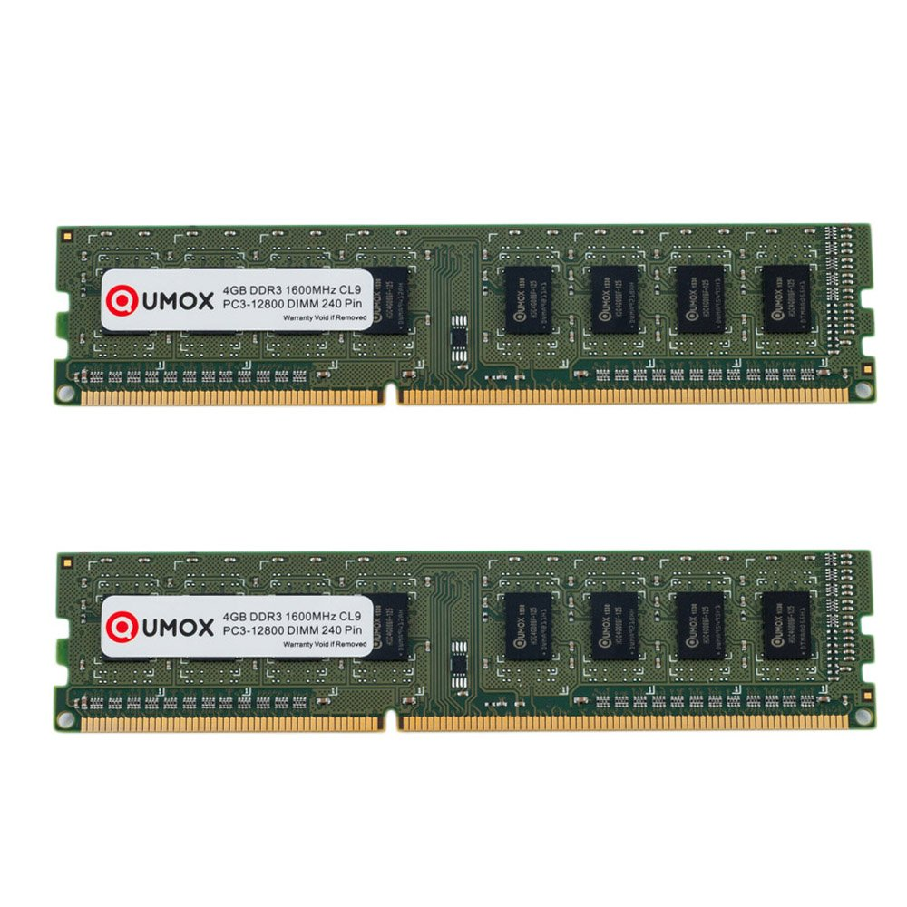 QUMOX 8GB DDR3 1600 PC3-12800 PC-12800 (240 PIN) XMP CL9 DIMM Memoria Desktop QXDDR31600CL9HS/8GB