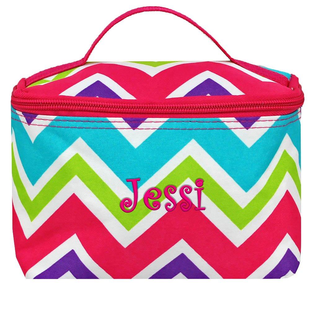 Personalized Multi Chevron Cosmetic Makup Bag