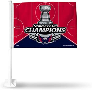 Rico Industries NHL Washington Capitals 2018 Stanley Cup Champions Car Flag, with White Pole
