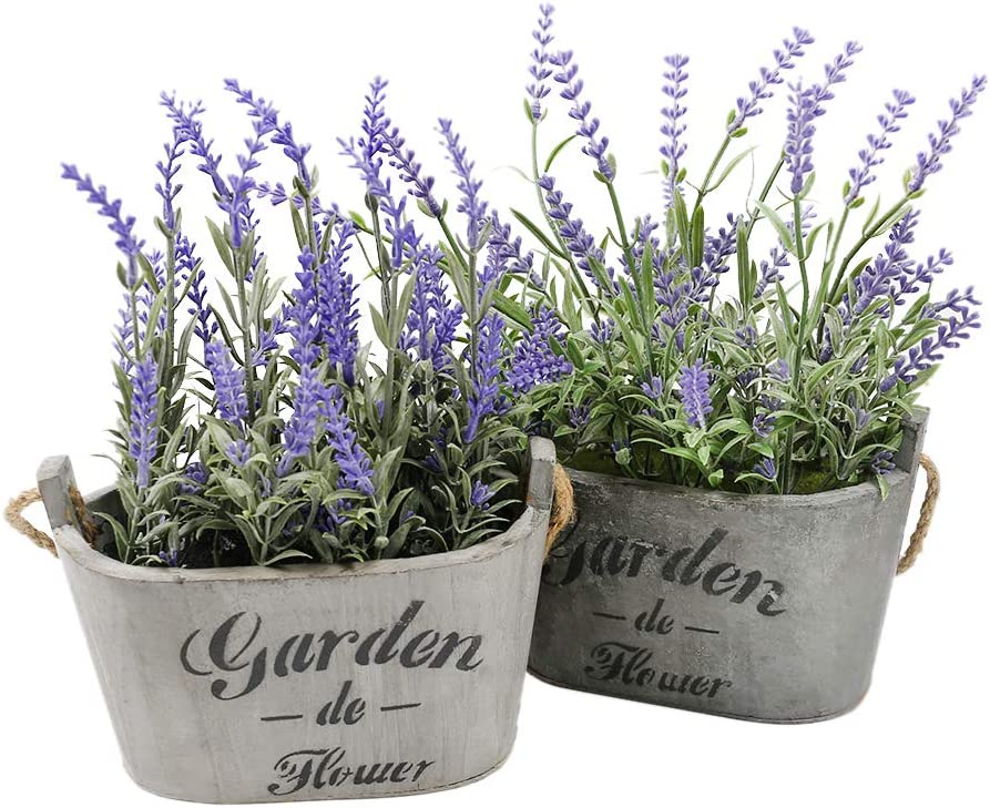 Heart To HeartButterfly Craze Purple Silk Floral Arrangements Faux Lavender Flower Plant Home Office Décor 2 Pc Set - with Grey Vases