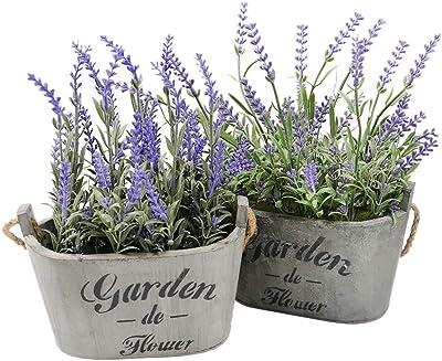 Faux Lavender Planters