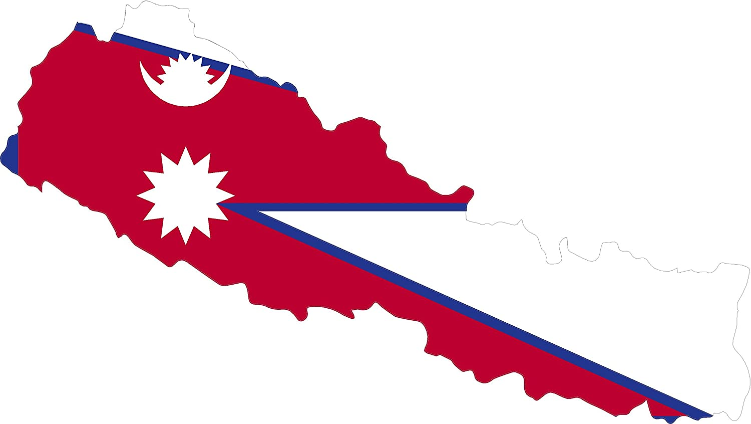 Map with Flag Inside Nepal 4x6.5 Sticker Decal die Cut Vinyl - Made and Shipped in USA