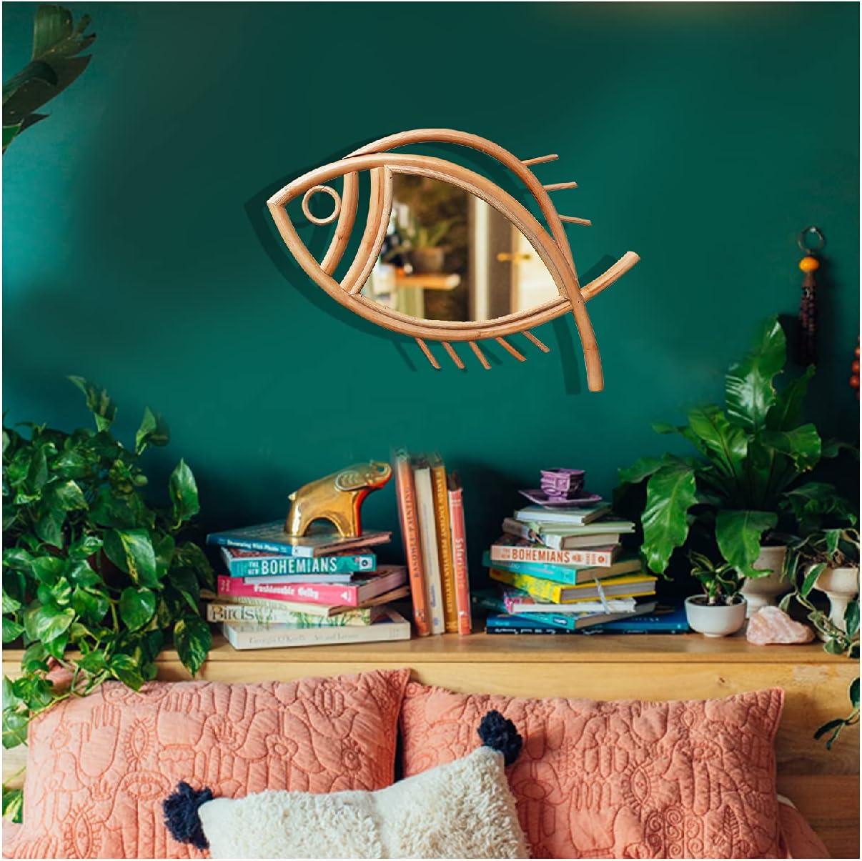 CozyHomie Boho Decor for Bedroom Living Room Hallway Decorative Wall Mirror Rattan Mirrors for Wall Rattan Wall Decor, Apartment Décor/Wall Art Rustic Fish Shape Rattan Mirror(Medium Fish)