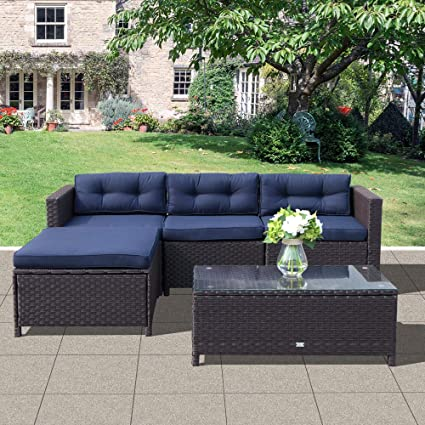 Astounding Oc Orange Casual Patio Furniture Set 5 Piece Outdoor Rattan Wicker Sectional Sofa With Glass Top Coffee Table Seat Cushion Large Size Navy Blue Ibusinesslaw Wood Chair Design Ideas Ibusinesslaworg