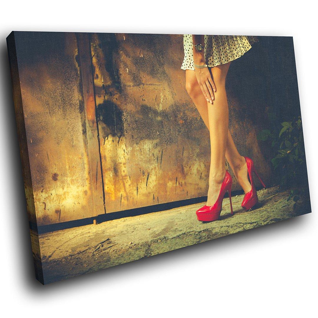 EE113E gerahmte Leinwanddruck bunte Wandkunst - rote High Heels ...