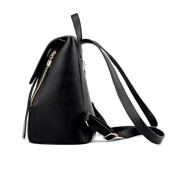 Amazon.com | Richard Nguyen Women Backpack Pu Leather Mochila Escolar School Bags For Teenagers Girls Black 28X24X14Cm | Kids Backpacks
