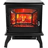 """ROVSUN 20"""" H Electric Fireplace Stove Space Heater 1400W Portable Freestanding with Thermostat,Realistic Flame Logs Vintage Design for Corners, 17"""" L x 9"""" W x 20"""" H CSA Approved, Black"""
