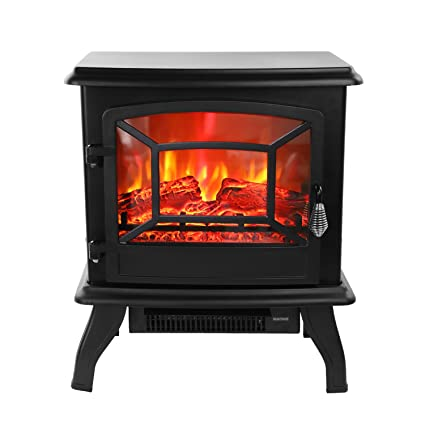 ROVSUN 20u0026quot; H Electric Fireplace Stove Space Heater 1400W Portable  Freestanding With Thermostat,Realistic