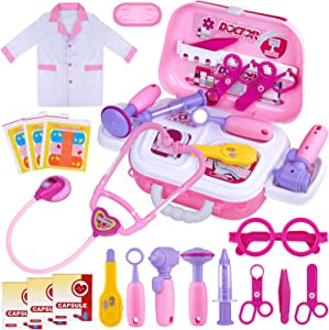 GINMIC Kids Doctor Play Kit, 22 Pieces Pretend Play Doctor Set with Roleplay Doctor Costume and Carry Case for Toddlers and Kids, Medical Dr Kit Toys for Girl Age 3 4 5 6 7 Year Old