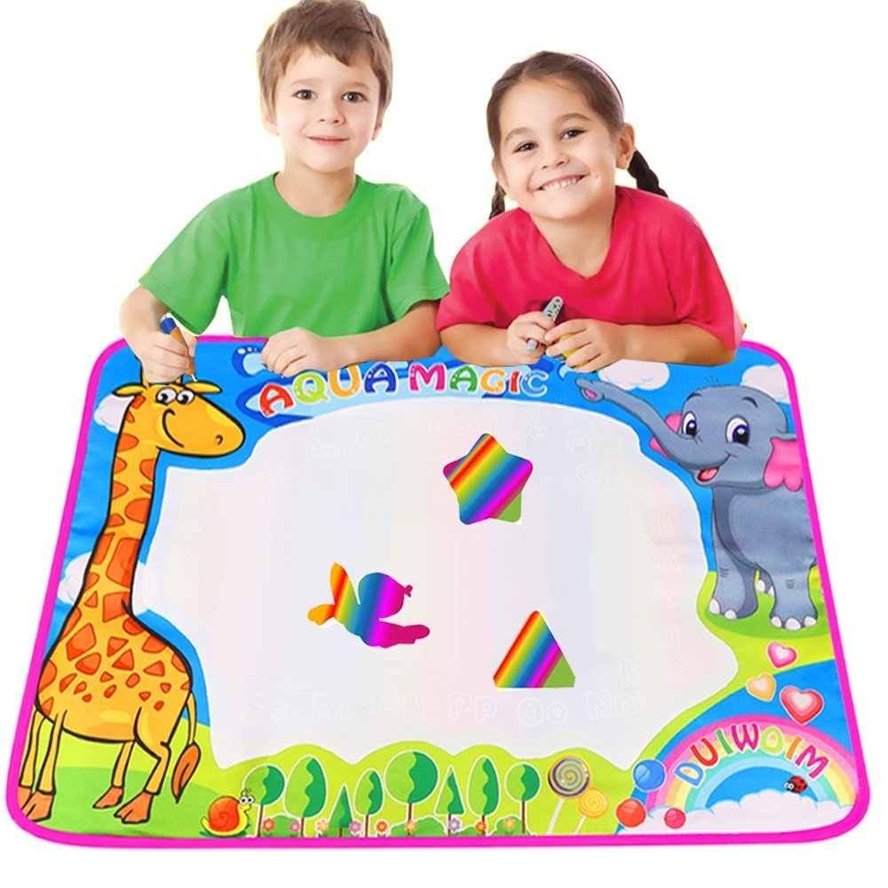 Colorful 29.5 X 20.4 Inch Magic Water Drawing Mat Pad with 2 Water Magic Pens and 8 Molds Kids Educational Travel Toys Gifts for Boys Girls Toddlers Age 2 3 4 5 6 7 Pink Large Water Doodle Mat