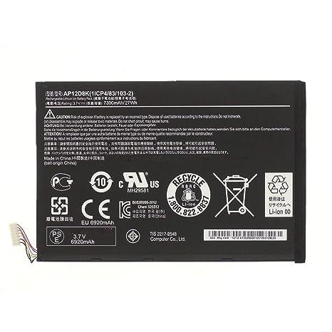 3.7V 7300mAh 27Wh AP12D8K Batería del Ordenador Portátil para Acer Iconia Tab W510 W510P W510