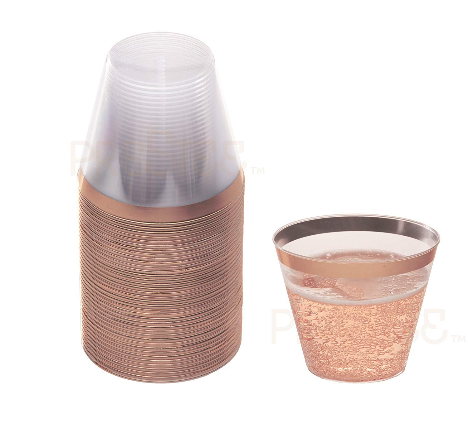Rose Gold Plastic Cups | 9 oz. 50 Pack | Hard Clear Plastic Cups | Disposable Party Cups | Fancy Wedding Tumblers | Nice Rose Gold Rim Plastic Cups | Elegant Decoration Cups | Plastic Tumblers Bulk