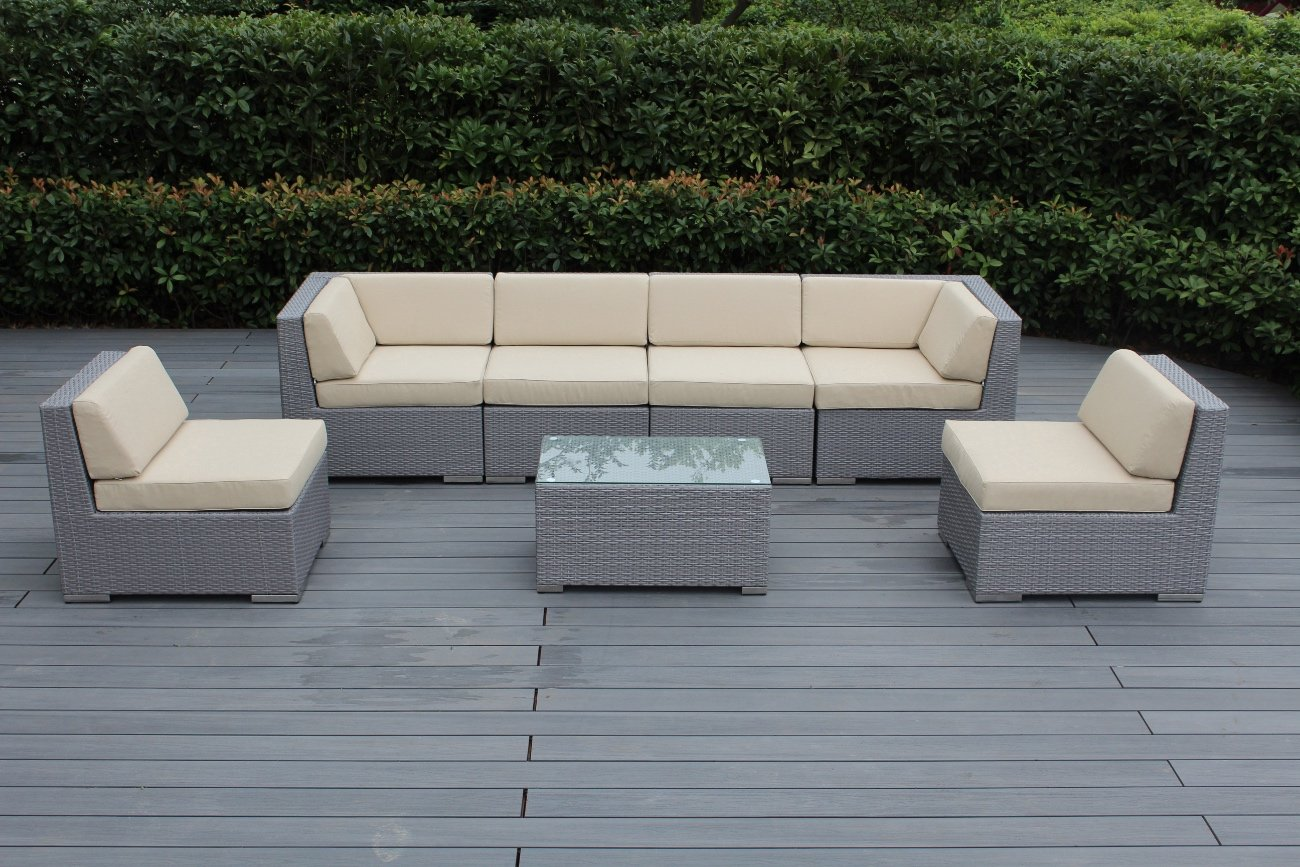 Ohana 7-Piece Outdoor Patio Furniture Sectional Conversation Set, Gray Wicker with Beige Cushions - No Assembly with Free Patio Cover - All Weather Gray PE Resin Wicker Couch Set provides a modular design, which enables flexibility with many configuration options. 7pc Set includes 2 Corner sofas + 4 Middle Sofas + 1 Coffee Table. The Sofa set is 28 inches Fade Resistant Cushion Covers come with zipper for easy cleaning.. - patio-furniture, patio, conversation-sets - 71OK7vy901L -
