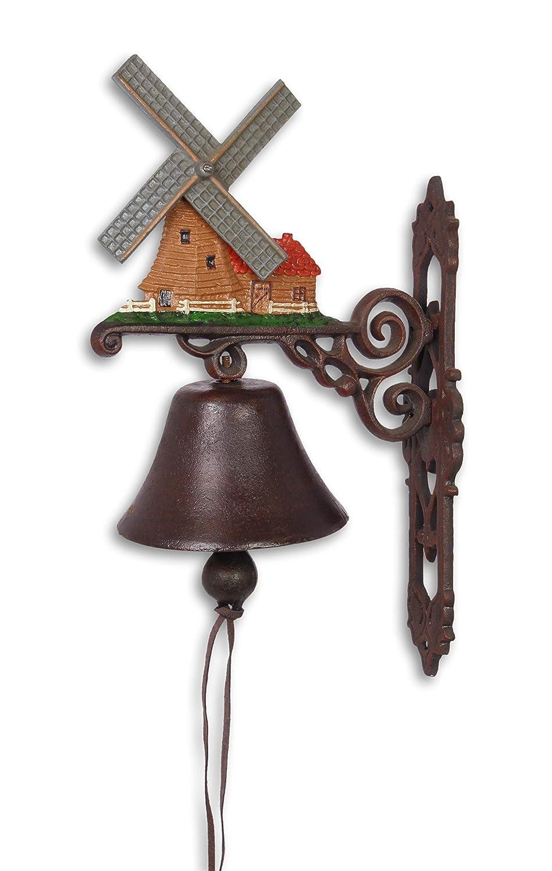 Campana para puerta campana pared Campana Hierro Fundido Juego de 2 País Diseño de Casa: Molino de viento Holland H: 40 cm: Amazon.es: Jardín