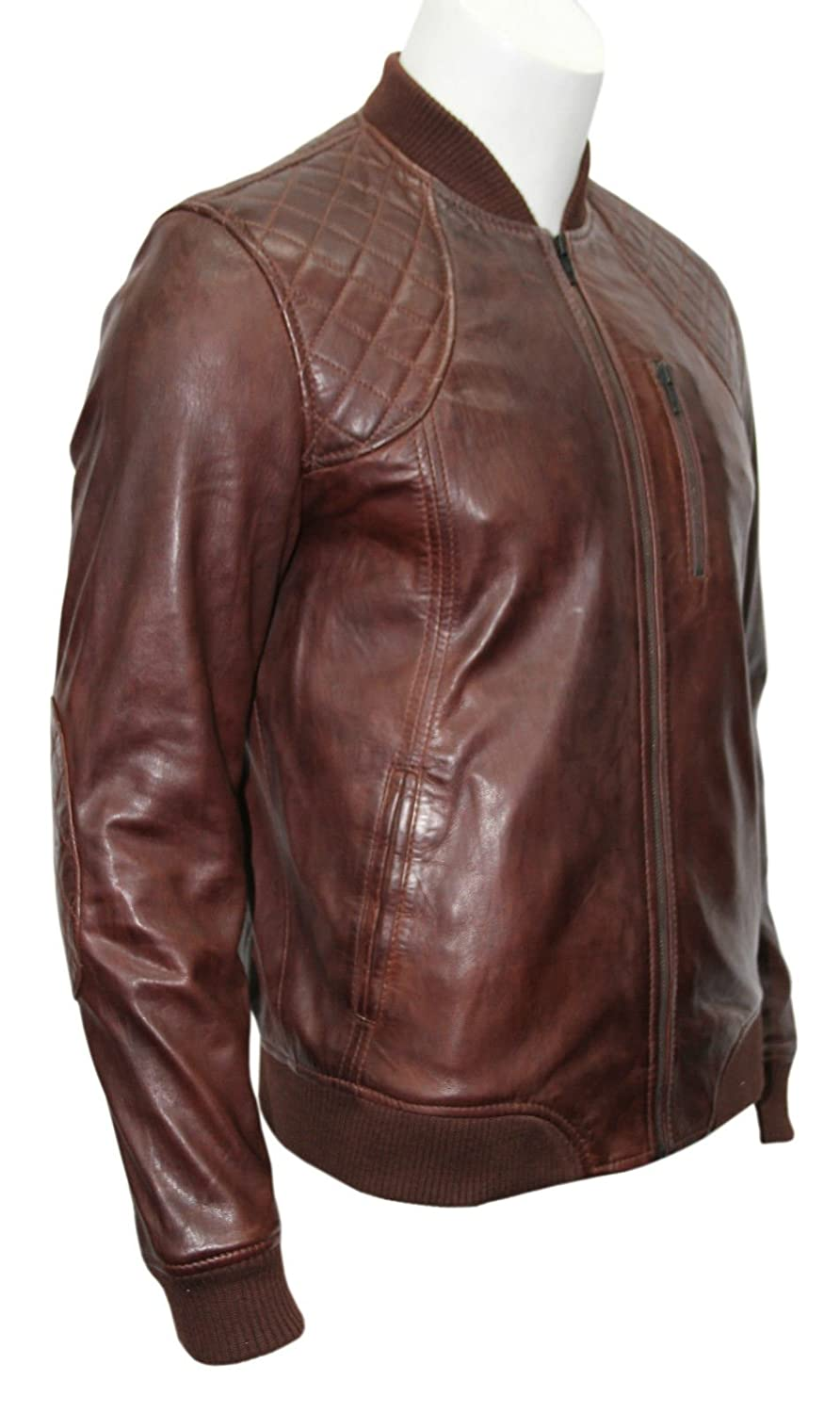 Men' Gents 70s Bomber Brown Quilted Retro Classic Vintage Italian Leather Jacket