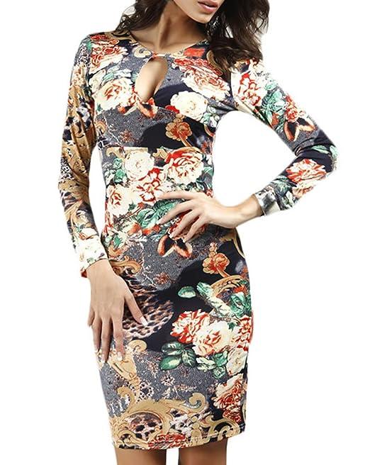 Vestidos Tubo Mujer Vintage Floreadas Vestido Coctel Cortas Elegantes Manga Larga V Cuello Paquete De Cadera Delgado Vestido De Lápiz Vestidos De Noche ...