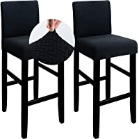 Qishare 2 Pack Bar Stool Covers Pub Counter Stool Cover Chair Seat Cover Stretch Washable Anti-Dust Slipcovers for…