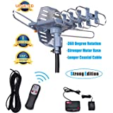 Will Brands 150+ Miles Range Outdoor Amplified Digital TV Antenna- 1080P High Reception 40FT Coaxial Cable -Motorized 360 Degree Rotation Wireless Remote Control with Snap On Installation Support 2 TV